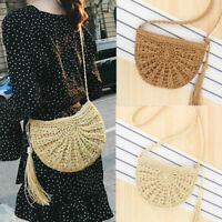 UK Women Straw Round Bag Handwoven Retro Handbags Rattan Crossbody Shoulder Bags