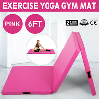6' Exercise Tri-Fold Gym Gymnastics Yoga Mat 2' Thick Aerobics Training Fitness