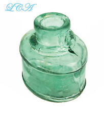 RARE large odd OVAL shaped antique INK well - deep TURQUOISE blue green color !