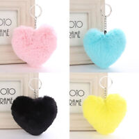 1PC Charm Fluffy Love Heart Car Keychain Pendant Handbag Women Cute Key Buckle
