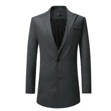 Men's Woolen Jacket Slim Fit Long sleeve Single Breasted Trench Coat Plain New D