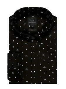 AX Armani Exchange - Camisa negra slim fit para hombre