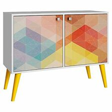 Manhattan Comfort Funky Avesta Side Table 2.0 with 3 Shelves in a White Frame
