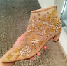 Womens Embroidered Floral Zip Ankle Boots Pointy Toe High Heel Fashion Shoes Sz