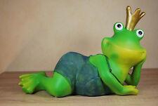Frosch liegend mit Krone Froschkönig Gartenfigur Dekoration Tierfigur Figur