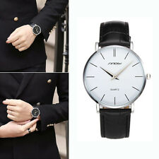 Super Slim Casual Women Men's Watches Brand Leather Quartz Analog Wrist Watches