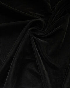 "Velvet Black Plush Triple Fabric Drapery clothing soft solid 45"" wide per yard"