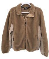 Denali Women's XL Tan Fleece Coat Jacket Full Front Zip Two Zip Pockets flaw