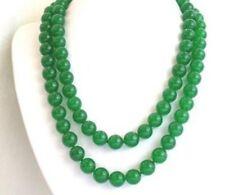 Natürliche 8MM grüne Jade Halskette 86CM