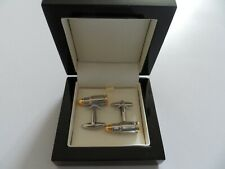 Silver and Gold plate Bullet Cufflinks in Attractive Black Wood Box.