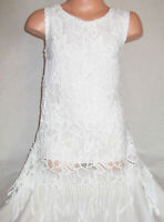 GIRLS 60s STYLE CREAMY WHITE FLORAL LACE TASSEL TRIM PARTY DRESS TOP age 9-10
