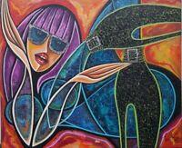 Javier Martinez Gaga Acrylic on Canvas 20X24 Cuban Art Original Painting 2014