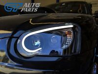 Black 3D LED Angle Eyes Projector Headlights for 03-05 SUBARU IMPREZA WRX RX STI