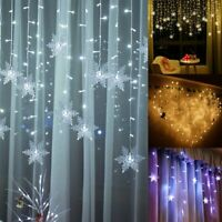LED Snowflake Icicle Hanging Wall Curtain Fairy String Lights Xmas Party Wedding