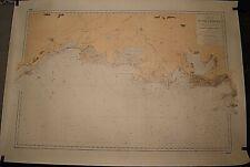 ANCIENNE CARTE HYDROGRAPHIQUE MARINE DE SETE A MARSEILLE FRANCE 105 x 75 cm