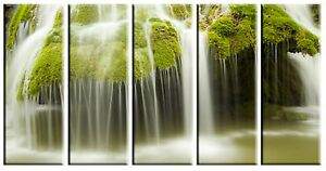 Waterfall over Rocks in Forest Photo on Canvas Framed Wall Art Ready to Hang