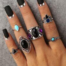 6pc Set di anelli di moda argento anticato con Gioielli Vintage/Bohémien Boho Taglie C-o