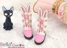 ☆╮Cool Cat╭☆【24-4】Blythe/Pullip Cute Bunny Ear Mini Boots # Deep Pink