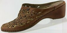 Pikolinos Mules closed Toe Brown Cutout Comfort Leather Slides Womens 39 8.5,9