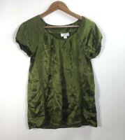 Ann Taylor Loft Women's Size S Short Sleeve Green Blouse
