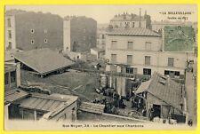 cpa Rare 75 - PARIS 25 rue Boyer LA BELLEVILLOISE Le CHANTIER aux CHARBONS Animé