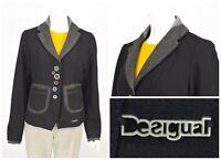 Womens Desigual Black Blazer Jacket Wool 36E2969 Button Size 42 / UK14
