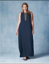 Grazia Sheer Lace Panel Navy Maxi Dress Plus Size 26
