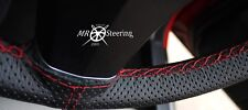 FITS VW TRANSPORTER T5 PERFORATED LEATHER STEERING WHEEL COVER RED DOUBLE STITCH