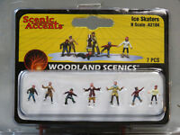 WOODLAND SCENICS N SCALE ICE SKATERS FIGURES adults kids winter rink WDS2184 NEW