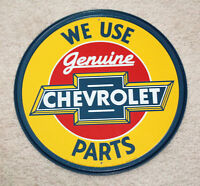 "Genuine Chevrolet Parts 12"" Round Vintage Style Metal Signs Man Cave Garage Dad"