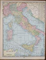 "Vintage 1900 ITALY Map 11""x14"" ~ Old Antique Original CORSICA SARDINIA SICILY"