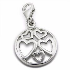 Silvadore HEARTS Love 925 Sterling Silver Clip On Charm Bracelet Box 436