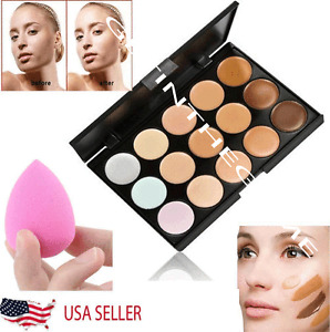 15 Colors Contour Concealer Face Cream Makeup Palette Professional + SPONGE NEW
