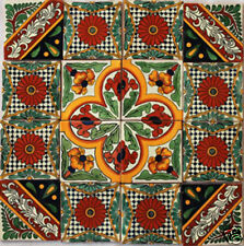 "W118 16  Mexican Talavera Tiles Clay Hand-made   4x4"""