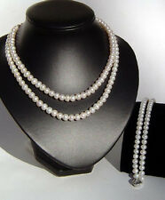 2-St Large White Freshwater Pearl Necklace w/ Bracelet, Great Gift at Low Price!