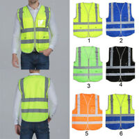 Ajdustable Reflective Safety Vests with Zipper Security Tape Jackets Waistcoats