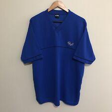 No Fear Eyes Logo Vintage 90s V Neck Ribbed BMX T-Shirt Blue Mens Large