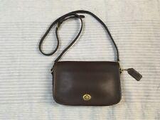 Vintage Coach Penny Pocket dark brown leather turnlock shoulder bag