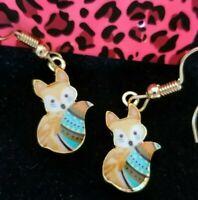 Betsey Johnson Cute Fox  Enamel  Gold Dangle Earrings