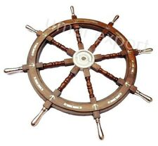 "Antique Wooden Ship Wheel~36"" Large Steering Captain Wheel~Nautical Wall Decor"