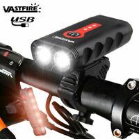 USB Rechargeable 2x XM-L2 LED Bicycle MTB Bike Light Front Headlight Rear Lamp