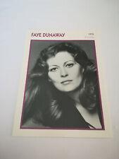 Faye Dunaway - Fiche cinéma - Portraits de stars 13 cm x 18 cm