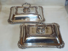 More details for antique matching pair of old sheffield plate serving dishes