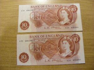 2 x Ten Shillings Banknotes LK O'Brien K20 690249/250, UNC & Consec very crisp