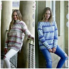 KNITTING PATTERN Ladies Easy Knit Jumpers 2 Lengths Drifter Aran King Cole 5267