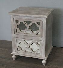 SET OF TWO	 WHITE WASH  BEDSIDE TABLE 2 DRAWER WITH MIRRORED FRONT