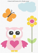 Crochet Pattern/Patterns - OWL AND BUTTERFLY -  Baby Graph/CHART Afghan Pattern