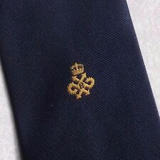 QUEEN'S AWARD EXPORT TIE VINTAGE RETRO CREST 1980s 1990s ASSOCIATION CLUB NAVY