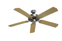 """52"""" 5-Blade Ceiling Fan Brushed Nickel Finish Maple ABS Blade"""