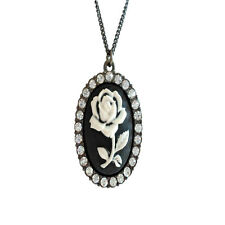 Vintage retro style black and white cameo flower pendant necklace with crystal